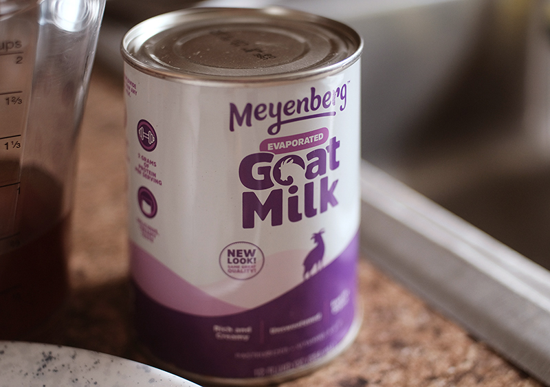 Closeup of can of Meyenberg brand of evaporated goat milk.