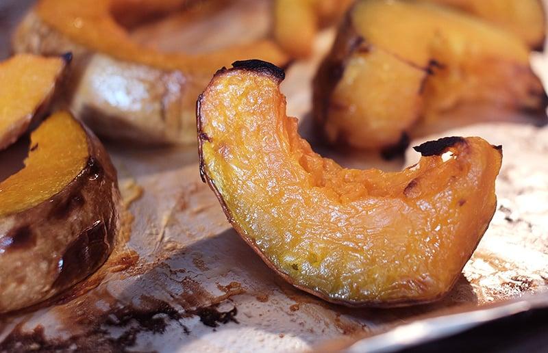 Closeup of roasted pumpkin wedges