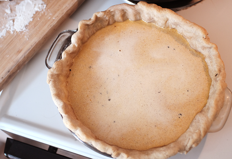 Overhead view of baked pumpkin pie