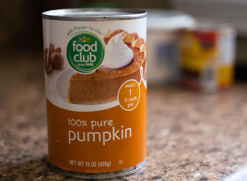 Can of pumpkin puree.