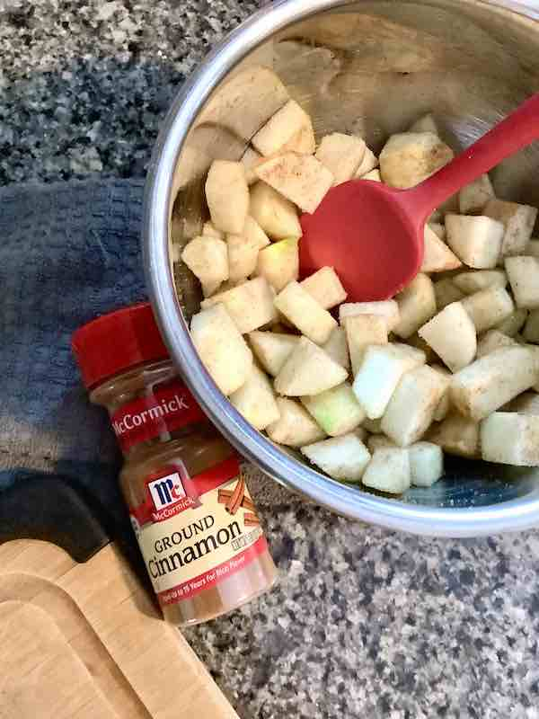 Apples coated in cinnamon sugar