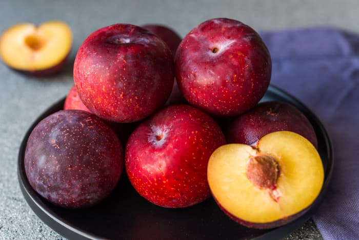Closeup of a plate of red plums.  Ripe, delicious fruit is the reward for knowing how to grow plums in your home garden.