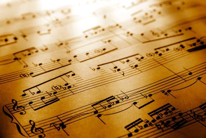 Closeup of sheet music.