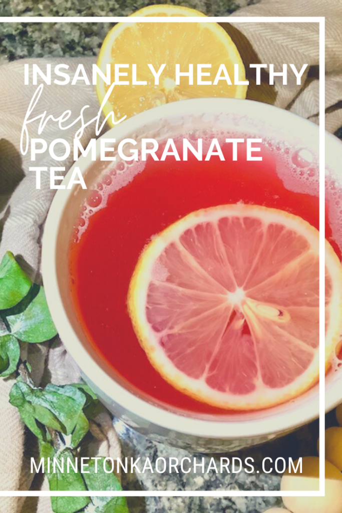 Pinterest image of pomegranate tea.