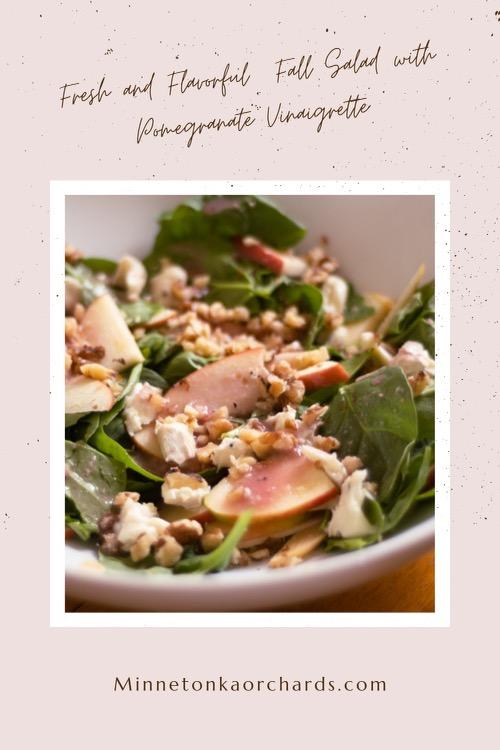 Pinterest image of Fall Salad with Pomegranate Vinaigrette dressing.